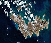 Saint Barthelemy, French Caribbean, in 2017, satellite image