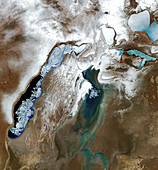 Frozen Aral Sea in 2012, satellite image