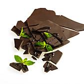 Dunkle Schokolade in Stücken mit frischen Minzeblättern