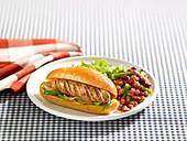 BBQ Sausage bun with beans
