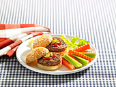 Kids burgers with veggies