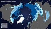 Permafrost map for Earth's northern hemisphere
