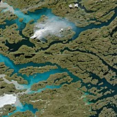 Wildfire in Greenland in August 2017, satellite image