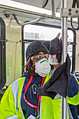 Bus cleaning during coronavirus outbreak, 2020