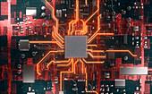 CPU in circuit board, illustration