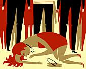 Drunk woman, illustration