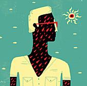 Sad man, conceptual illustration