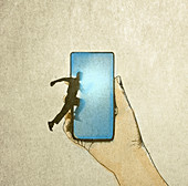Man jumping into smart phone screen, illustration