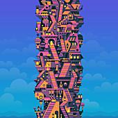 Highrise building, illustration