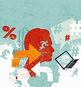 Online communication, illustration