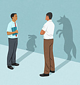 Businessmen with rabbit and wolf shadows, illustration
