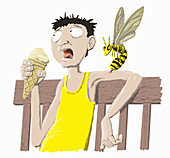 Man being stung by wasp, illustration