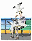 Seagulls stealing food, illustration