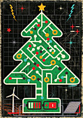 Christmas tree connected to renewable energy, illustration