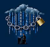Cloud computing security, illustration