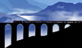 Steam train crossing viaduct, illustration