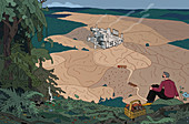 Industrial wasteland, illustration