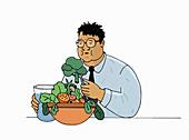 Overweight man on diet, illustration