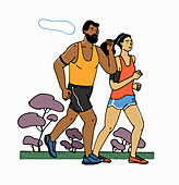 Jogging with fitness trackers, illustration