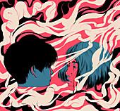 Teenage couple, illustration