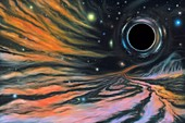 Black hole and nebula, illustration
