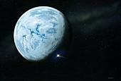 Asteroid impact on snowball Earth, illustration