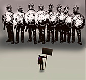 Police state, conceptual illustration