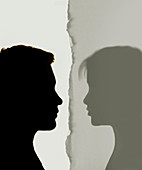 Relationship break-up, conceptual illustration