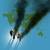 Travelling carbon footprint, conceptual illustration