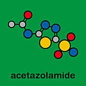 Acetazolamide diuretic drug molecule, illustration