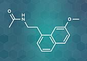 Agomelatine antidepressant drug molecule, illustration