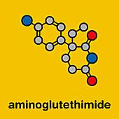 Aminoglutethimide anti-steroid drug molecule, illustration