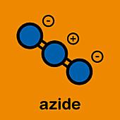 Azide anion chemical structure, illustration