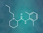 Bupivacaine epidural anaesthetic drug molecule, illustration