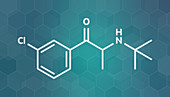 Bupropion antidepressant drug molecule, illustration