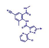 Cyantraniliprole insecticide molecule, illustration
