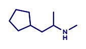 Cyclopentamine nasal decongestant molecule, illustration
