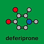 Deferiprone thalassaemia major drug molecule, illustration