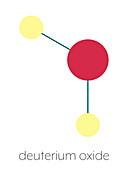 Deuterium oxide heavy water molecule, illustration