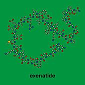 Exenatide diabetes drug molecule, illustration