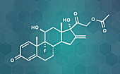 Fluprednidene acetate corticosteroid molecule, illustration