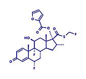Fluticasone furoate corticosteroid drug molecule