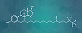 Fulvestrant breast cancer drug molecule, illustration