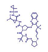 Glecaprevir hepatitis C virus drug molecule, illustration