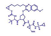 Grazoprevir hepatitis C virus drug molecule, illustration