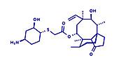Lefamulin antibiotic drug molecule, illustration