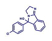 Mazindol appetite suppressant drug molecule, illustration