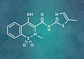 Meloxicam NSAID drug molecule, illustration