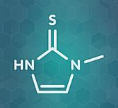 Methimazole hyperthyroidism drug molecule, illustration