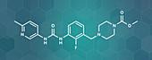 Omecamtiv mecarbil heart failure drug molecule, illustration